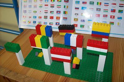 lego flags... Great idea!  Doing it!