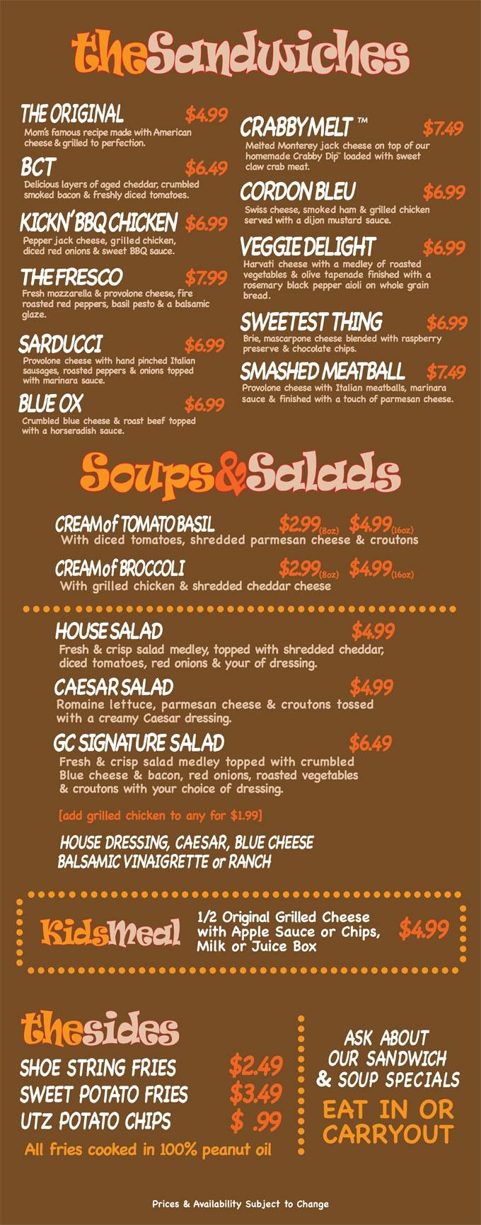 Grill cheese menu