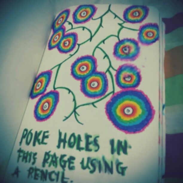 Wreck This Journal (WTJ) .poke holes in this page using a pencil.