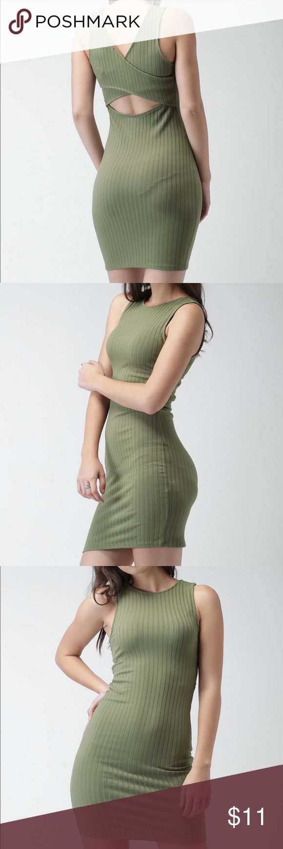F21 Olive Green Self Striped Bodycon Dress Size: small. Tried on, but never worn. Forever 21 Dresses Mini
