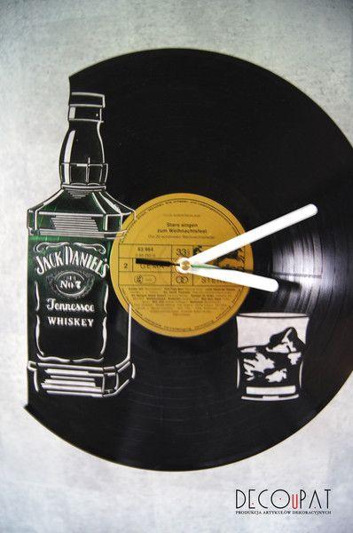 """Zegar+z+płyty+winylowej+""""Jack+Daniels""""+w+DECOuPAT+na+DaWanda.com"""