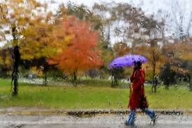 A women makes her way through the wet, rainy weather in Toronto on Wednesday, October 28, 2015.
