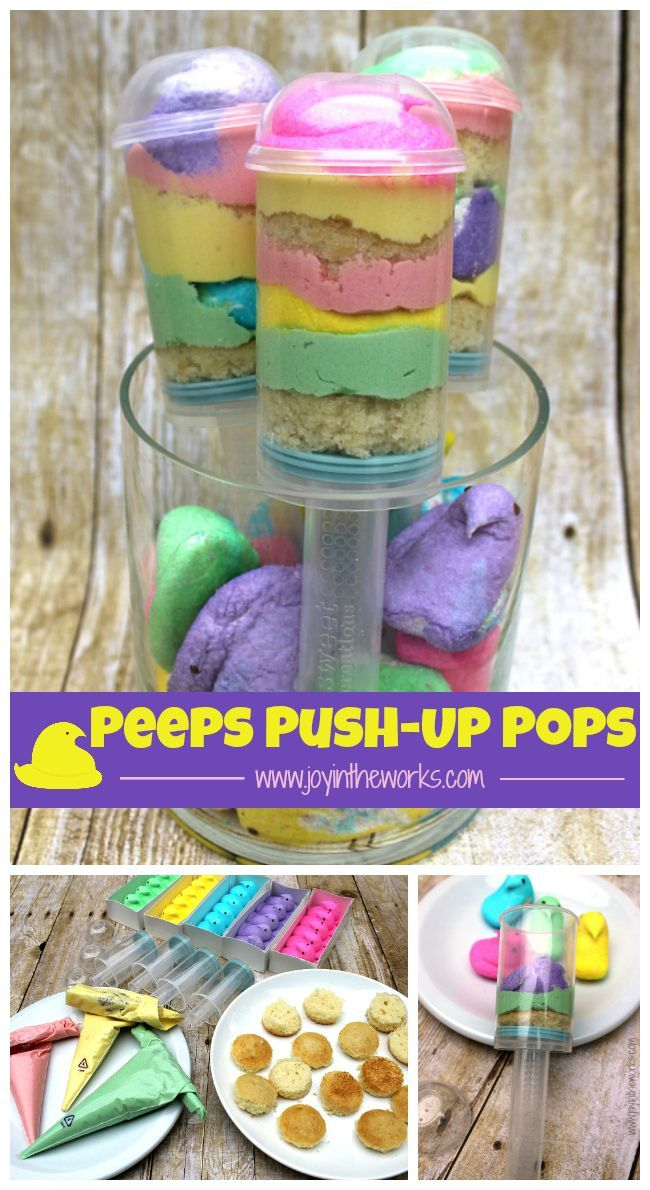 Peeps Push-Up Pops are so easy to make and they make such a fun Easter treat for kids! Plus they combine the best ingredients with cake, frosting and marshmallows in one dessert!