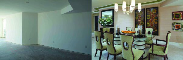 Before and After Dining Room of Beachfront High-Rise Condominium