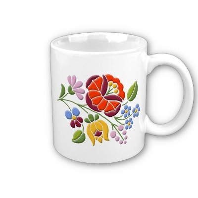 Kalocsa Embroidery - Hungarian Folk Art Coffee Mug #Hungary #Hungarian #folk #art #mug #kitchen #home $14.80
