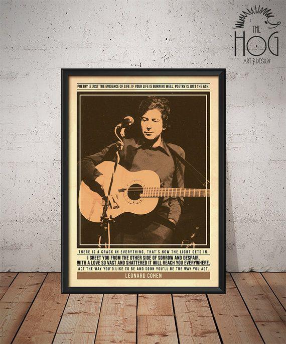 Leonard Cohen - Quote Retro Poster - Music Legends Series