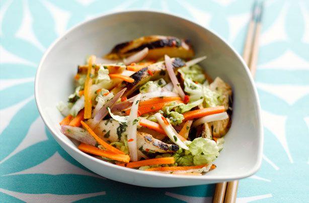 Sticky roast chicken salad