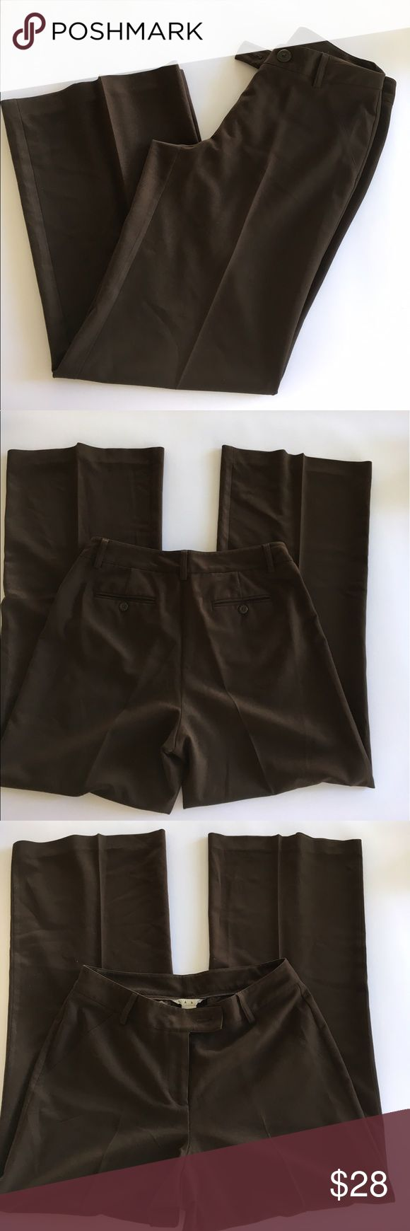 CAbi Dress Slacks Pants Trousers Brown Size 6 #724 these are in excellent used condition. Work pants inseam measures 31 inches waist measures approximately 30 inches. 74% polyester 22% viscose 4% spandex. CAbi Pants Straight Leg