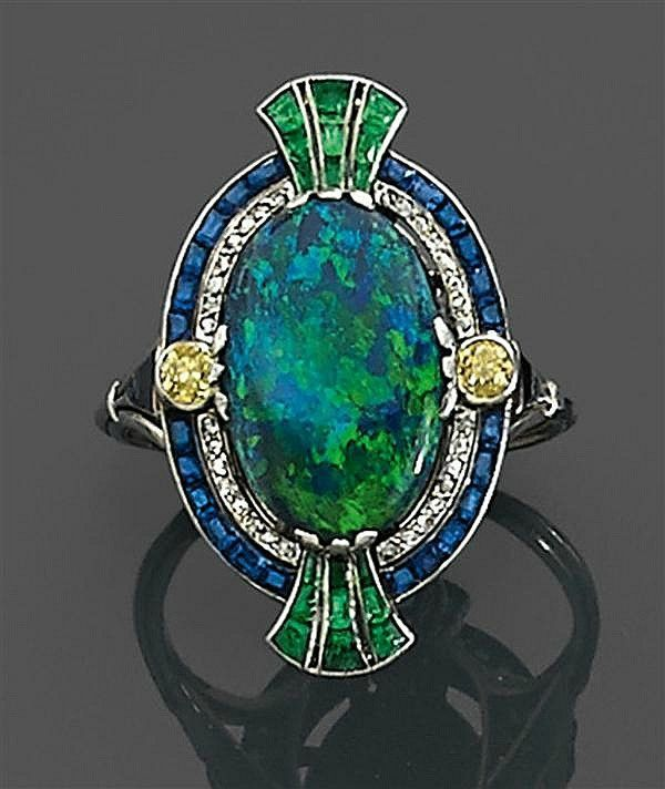 Antique opal, diamond and sapphire ring