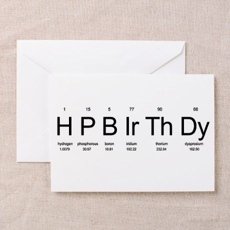 Periodic Table Birthday Cards (Pk of 10) on CafePress.com