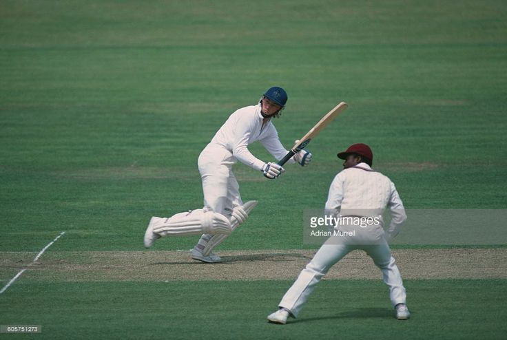 England cricketer Graeme Fowler opens the batting against the West Indies on the first day of the Wisden Trophy 2nd Test at Lord's, London, 28th June 1984. Fowler scored 106 runs in his first innings. The West Indies won the match by nine wickets.