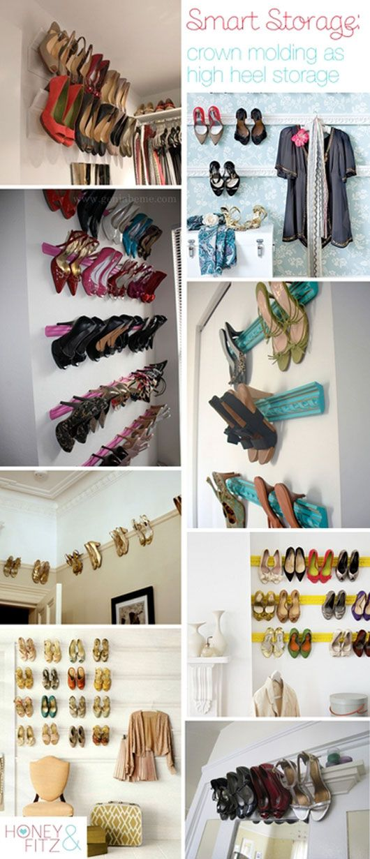 Shoe organization easy DIY! Paint crown molding your fav color slap it on the wall and boom shoes got a home!