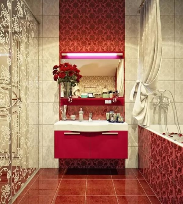 اشيك الوان واشكال سيراميك حمامات 2018 خربشه Unique Bathroom Design Pink Bathrooms Designs Bathroom Red