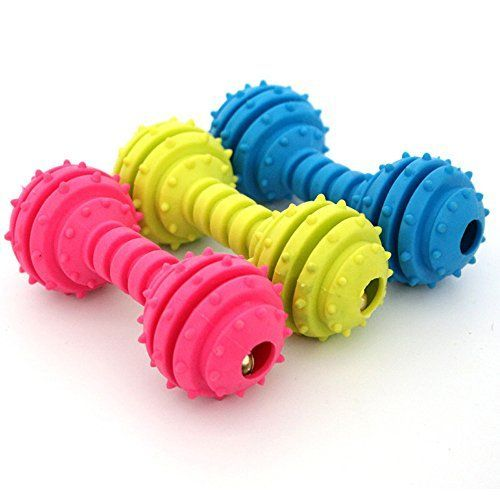 Dog Chew Toy Teeth Cleaning Toy Dumbbells Bite Resistant NonToxic Soft TPR Bones for Pet Indestructible Color On Random ** Continue to the product at the image link.
