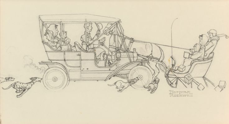 Ford Holiday Greeting Card (preliminary illustration), Norman Rockwell, Pencil on board, 1949 [with splotch of mustard from Rockwell's ham and cheese sandwich]