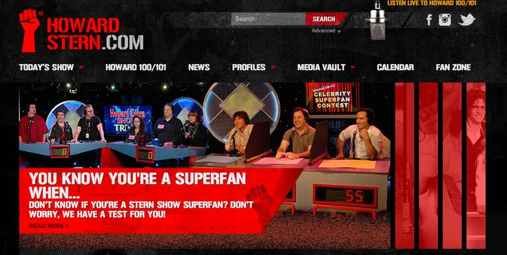 Another amazing home page feature on HowardStern.com.