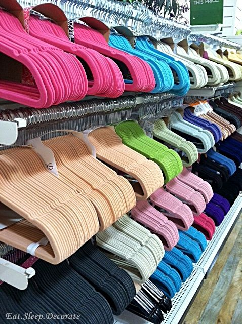Color code your closet? Take it one more step by color coding your hangers! This array of colorful hangers are from HomeGoods!