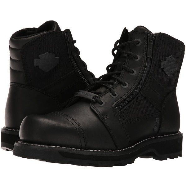 Harley-Davidson Bonham (Black) Men's Work Lace-up Boots ($150) ❤ liked on Polyvore featuring men's fashion, men's shoes, men's boots, men's work boots, mens fur lined boots, mens work boots, mens lace up boots, mens black lace up boots and harley davidson mens boots