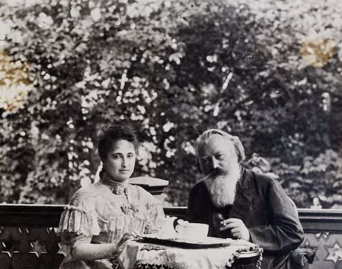 Johannes Brahms and Johann Strauss's wife, Adele, having breakfast in Bad Ischl, Vienna.