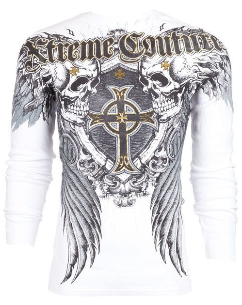Xtreme Couture AFFLICTION Men THERMAL T-Shirt PULVERIZE Tattoo Biker M-3XL $58 #Affliction #GraphicTee