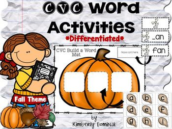Help your kids learn how to spell many CVC words with these differentiated activities for the Fall. I created a pumpkin as the CVC mat with each letter on a pumpkin seed. You will find over 75 CVC words to spell in a differentiated format. There are three sets of cards: one with the entire word spelled out for those kids learning how to make a CVC word, another that has a missing beginning sound, and just a picture card for your high readers.