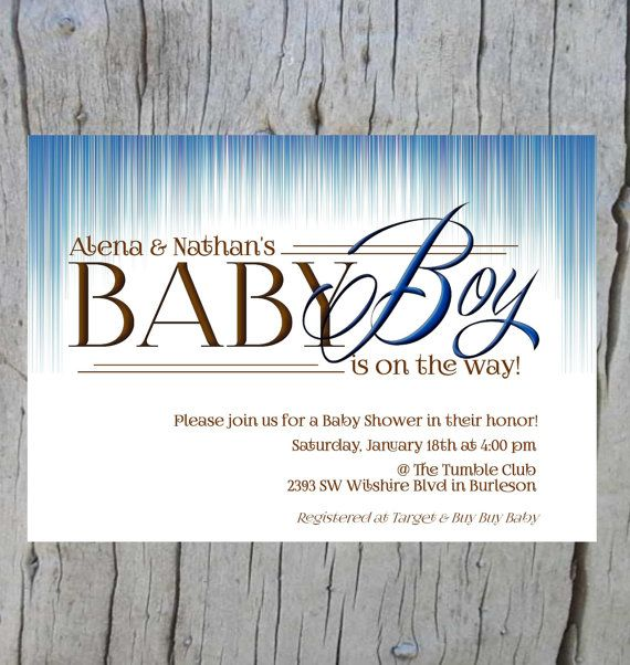 Set of 10 Ombre Blue BOY Baby Shower Party Invitation