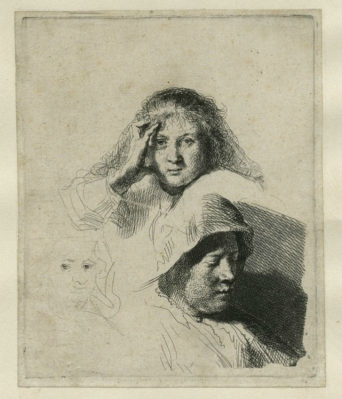 Rembrandt van Rijn (1606–1669), Three Heads of Women, One Lightly Etched, 1637, etching retouched with brush & grey ink on paper. © Norfolk Museums Service.