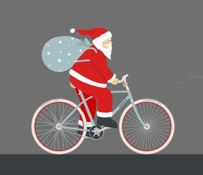 Creating an animated gif in Illustrator & Photoshop Santa riding a bike