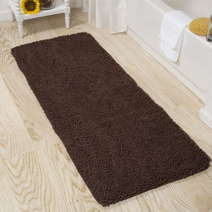 Large Shag Brown Chocolate 2FtX5FT Bathroom Mat Rug Memory Foam