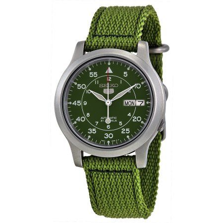 Seiko 5 Military Green Canvas Automatic Men's Watch, SNK805
