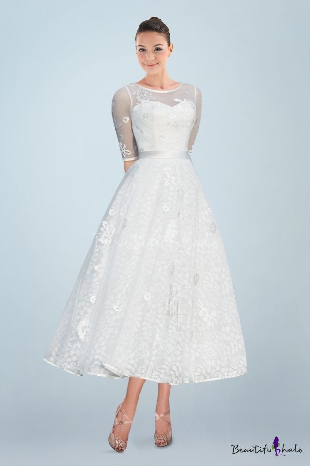 Vintage Illusion Neckline A-line Ankle-length Bridal Gown with Illusion Half Sleeves and Applique (coupon code :2BSALE)