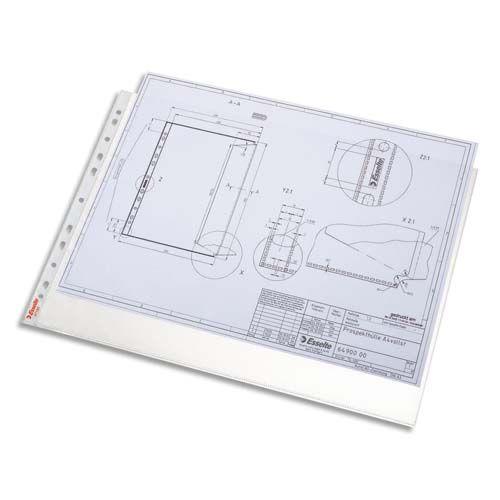 Boîte 50 pochettes perforées A3 paysage polypropylène 75µ grainée, perforation universelle 11 trous