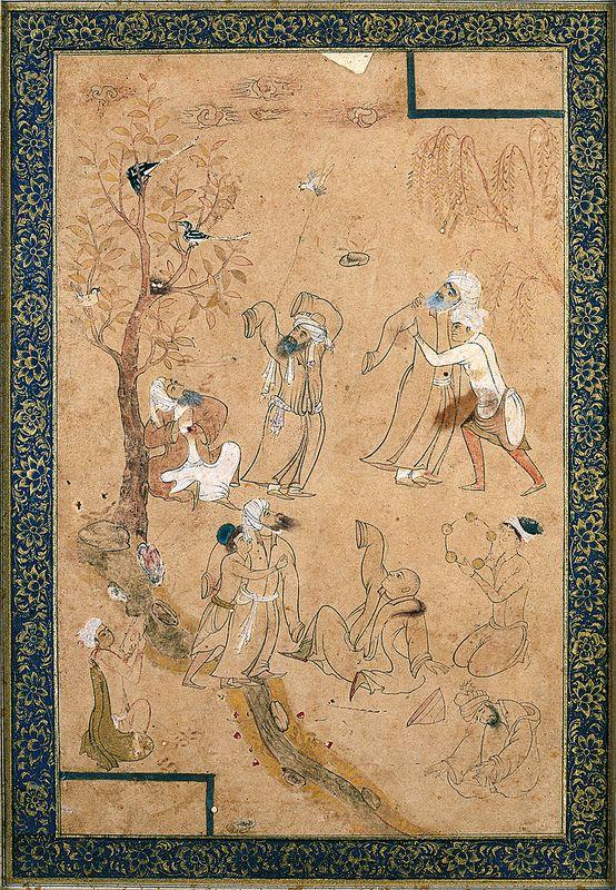سماع دراویش ، شیوه محمدی هروی، اواخر قرن 16 میلادی A Gathering Of Dervishes Geography Iran Period Safavid, late 16th century CE Dynasty Safavid Materials and technique Ink and watercolour on paper Dimensions 38.5 x 28.5 cm