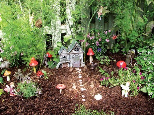 fairy garden ideas fairy house mushrooms stone path