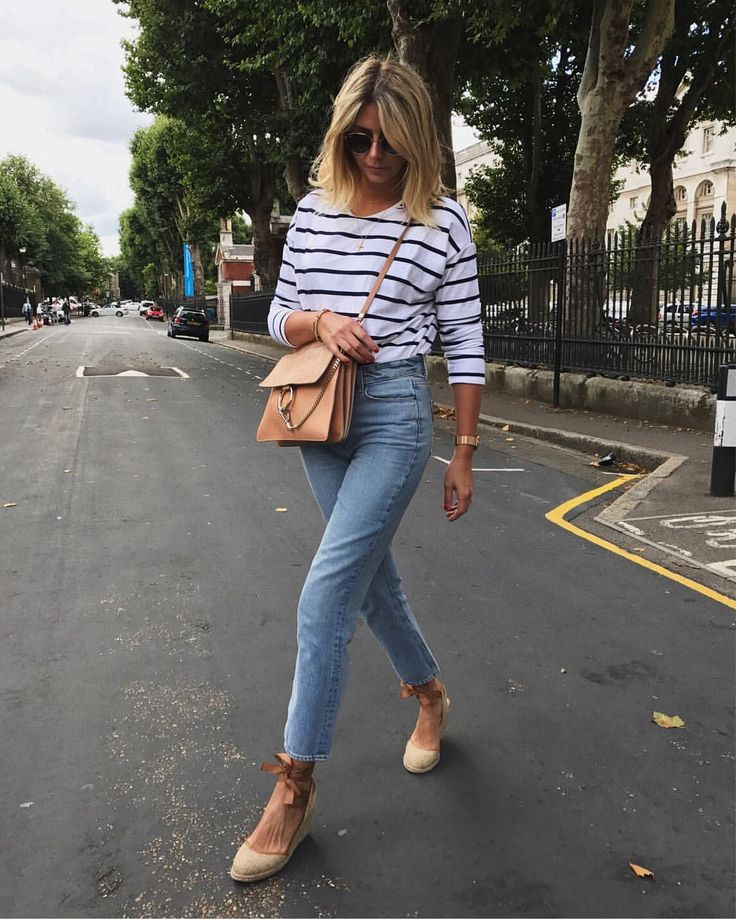 Stripes, jeans, Chloe Faye bag, and espadrilles