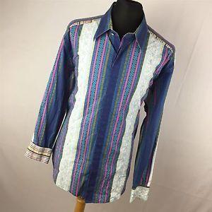 Robert Graham XXL 2XL Shirt Button Down Embroidered Flip Cuff Blue Purple L/S H4  | eBay
