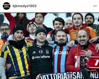 , Turkish football fans unite after Istanbul attacks ! , Photo: Courtesy of @bjkmedya1903 Thousands of football fans came out in a show of solidarity on Wednesday for an emotionally-charged first match after twin bombings outside the Istanbul stadium of top Turkish team Besiktas.Waving Turkish flag... , AHMET TURGUT ,...