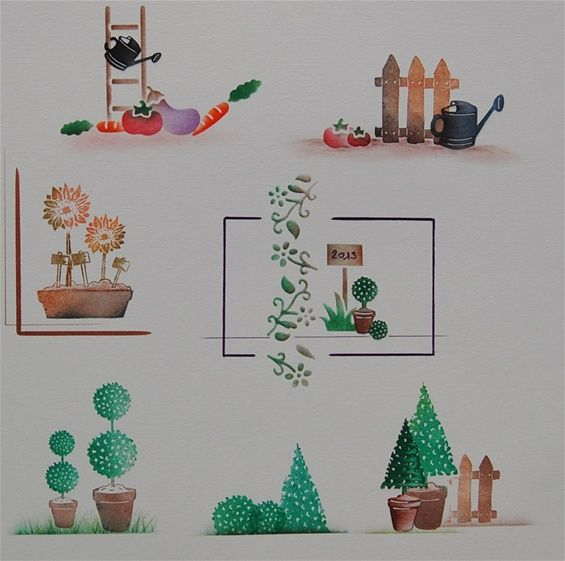Décor réalisé avec les tampons topiaires, emboitement de l'arrosoir et duo décor pour les petites fleurs.