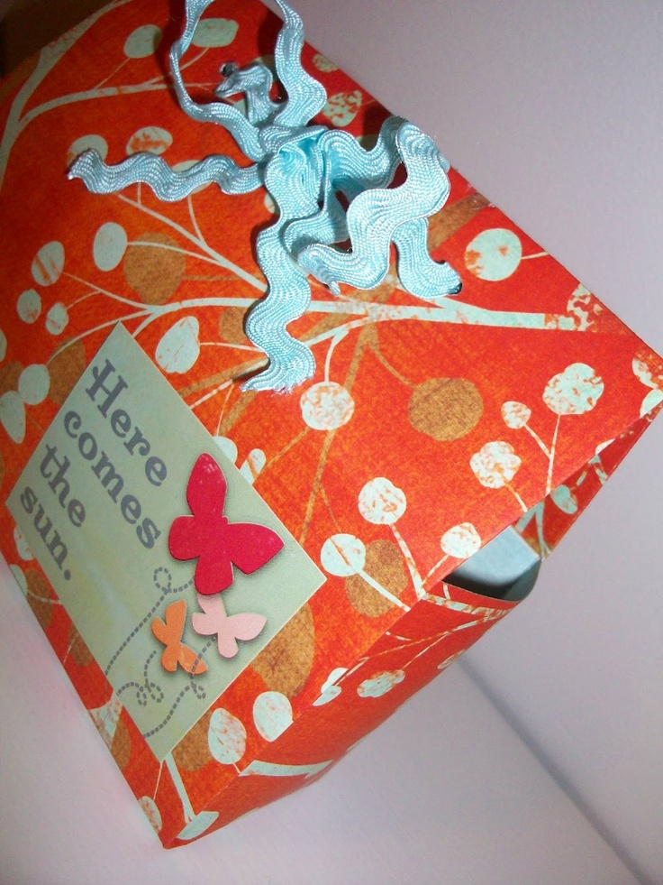 """pinterest 365 day 358: cosmo cricket gift box made out of a 12 x 12"""" piece of cardstock ... really cute and cosmo cricket provide a video tutorial :): Gifts Boxes Made Of Cardstock, Gift Boxes, Cards Stockings, Cricket Gifts, Card Stock"""