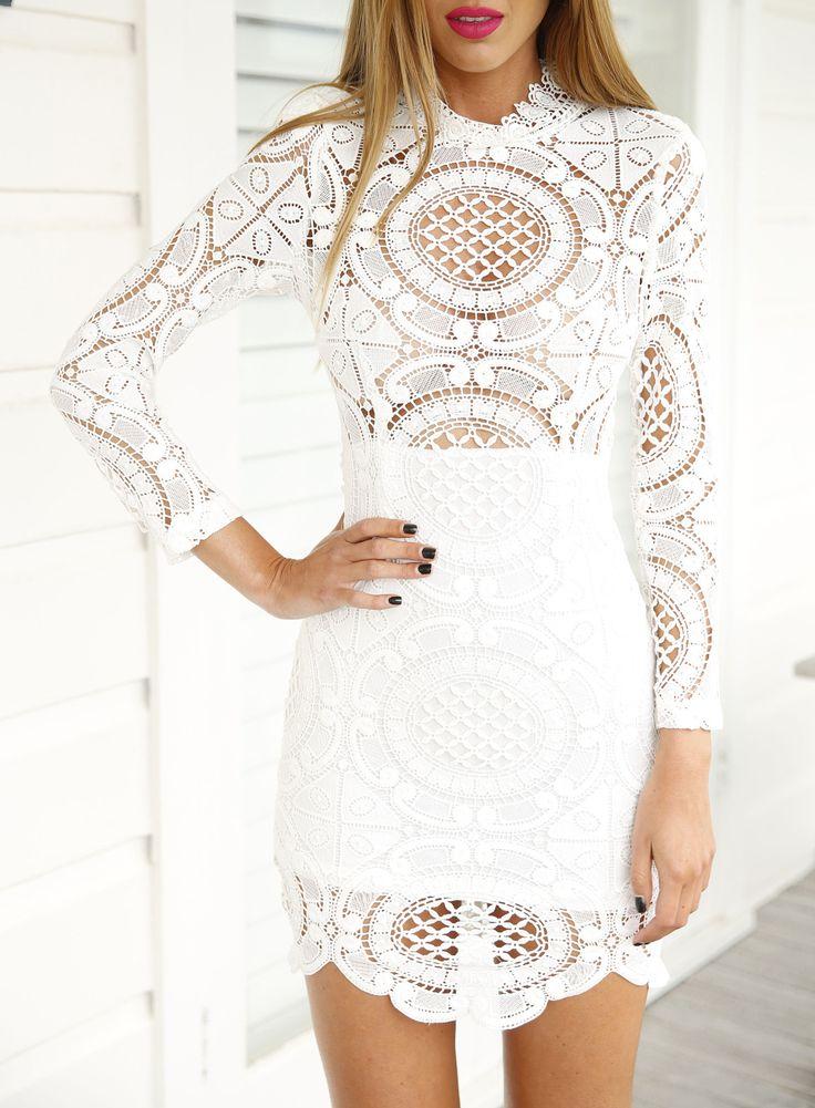 Vestido encaje hueco manga larga-blanco 16.55