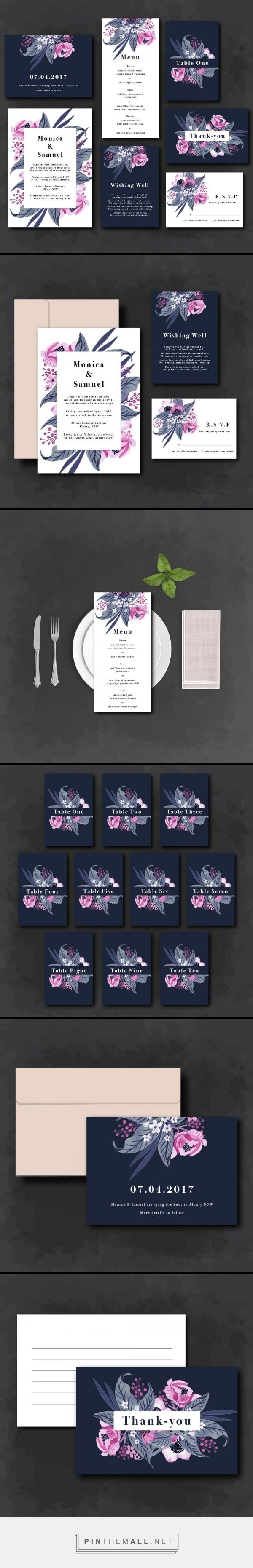 A feminine tropical navy and pink wedding invitation suite. Cards available include invitation, rsvp and details cards, save the date, menu, table numbers, thankyou card