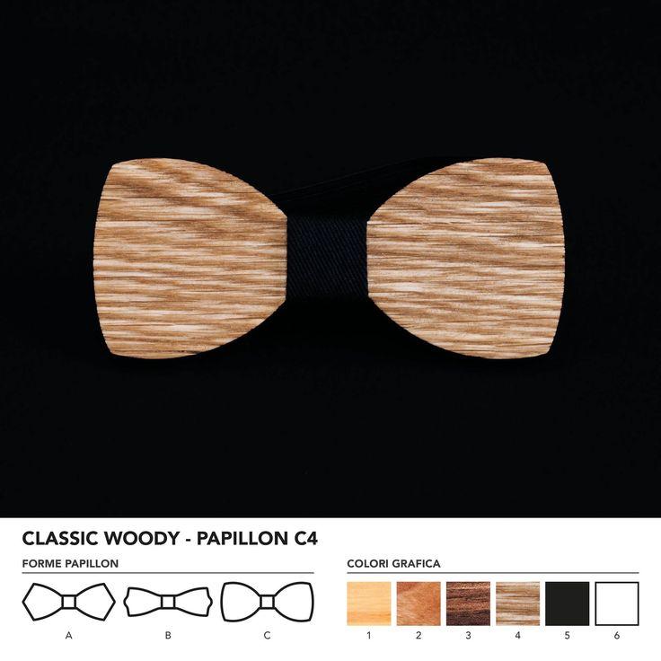 CLASIC WOODY - PAPILLON C4  Papillon in legno di rovere. Nodo centrale personalizzabile in base alle vostre esigenze e alle nostre disponibilità.  N.B. Usando legno massello naturale ogni prodotto presenta diverse venature e sfumature di colore, rendendo così ogni papillon unico è diverso dagli altri.