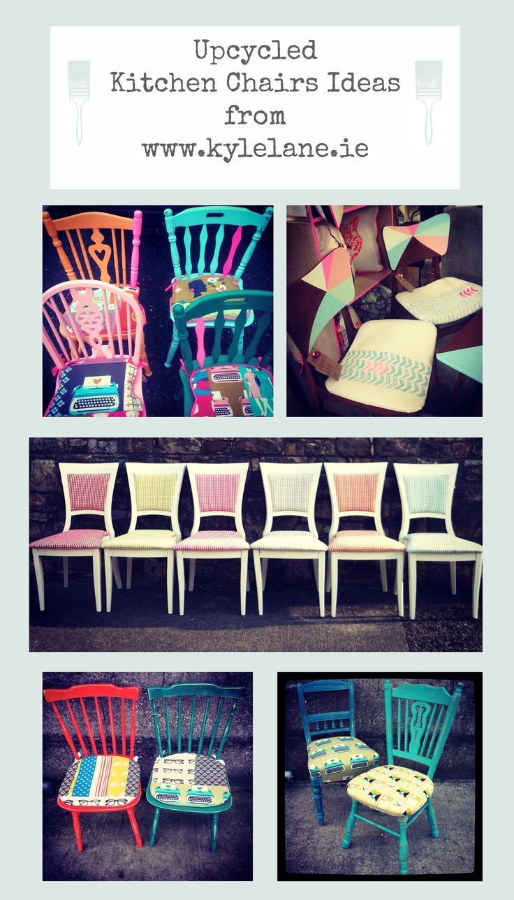 Upcycled kitchen chair ideas #upcycled #paintedchairs #kitchenchairs #diy
