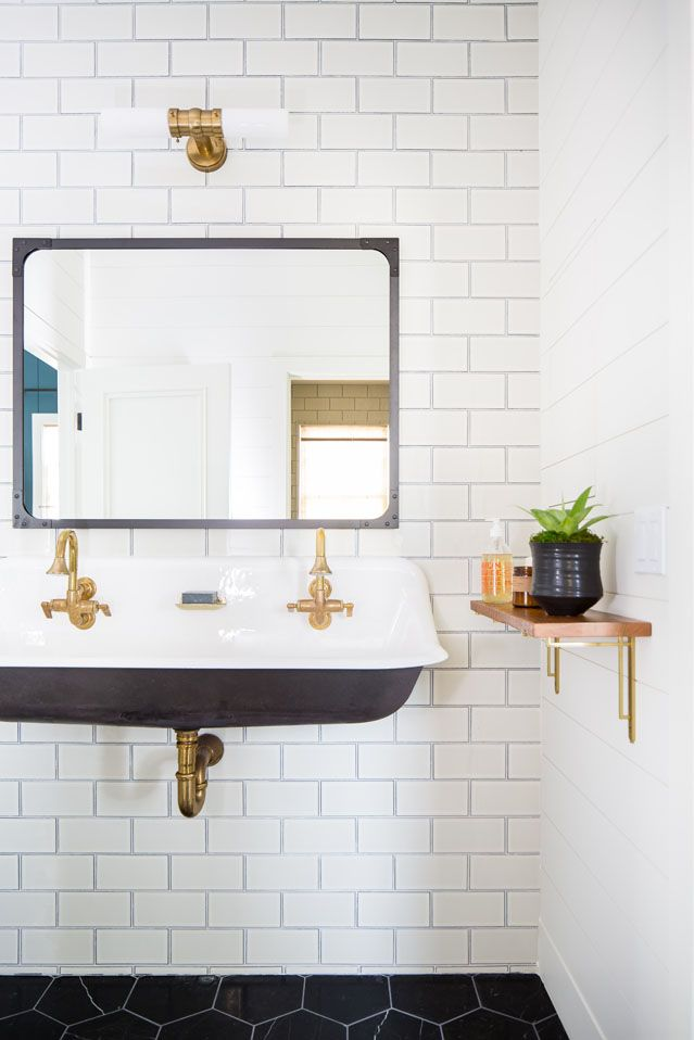 Trough Sink In The Kids Bath Black Floating Trough Sink Black Hexagon Floor Tile White Subway Tile Wall With Room Tiles Trough Sink Trough Sink Bathroom