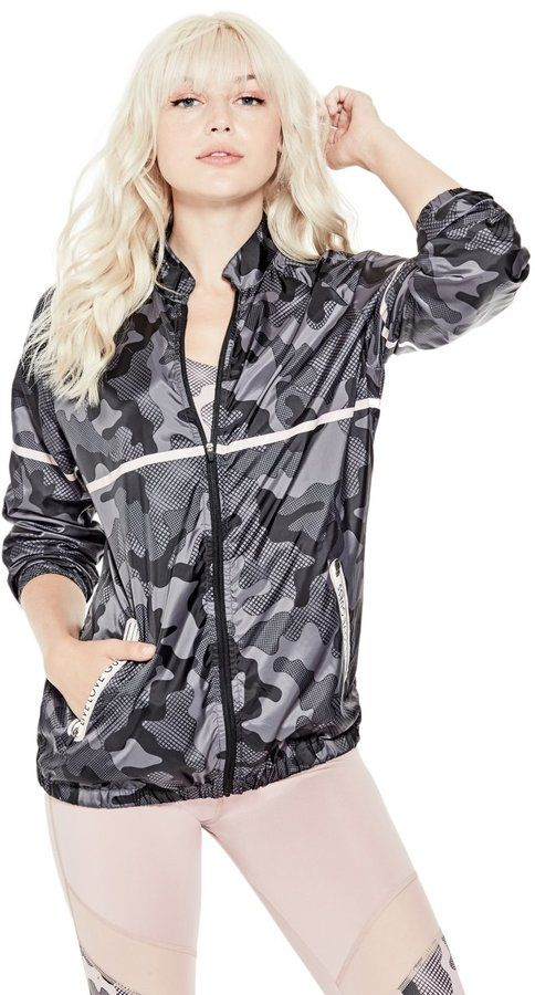 GUESS Women's Camo-Print Windbreaker Jacket