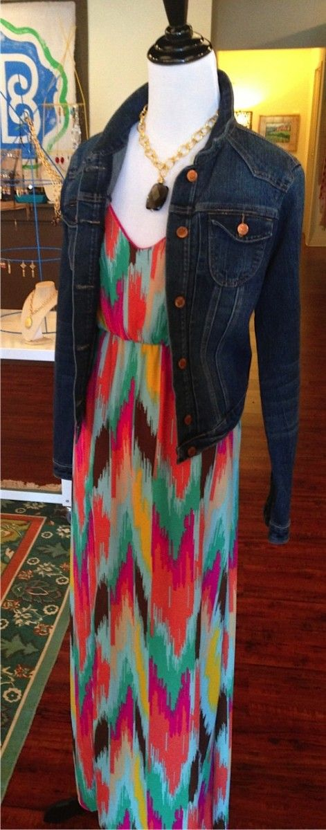 Denim jacket $62 Safari print maxi dress by Judith March $148 24K Gold Plated, brown topaz necklace by Susan Shaw $68 (Adding a pashmina ins...
