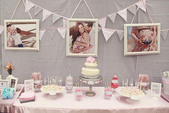 Pink & Gray Baby Shower - love the photo ideas!