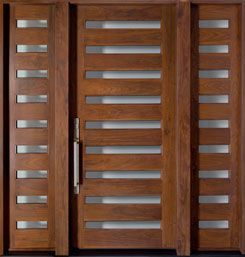Front Entry Custom American Walnut Door - Single with 2 Sidelites  - Modern Collection - Solid Wood American Walnut