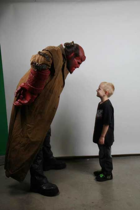 Ron Perlman dons his hellboy costume for make-a-wish, adorable things happen.