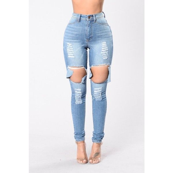 Get Out Of My Way Jeans Medium Blue ($25) ❤ liked on Polyvore featuring jeans, distressed skinny jeans, ripped jeans, high waisted ripped jeans, high-waisted jeans and distressed jeans